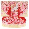 女の子用初着・産着No.16 | 赤地に桜・紅葉・鶴
