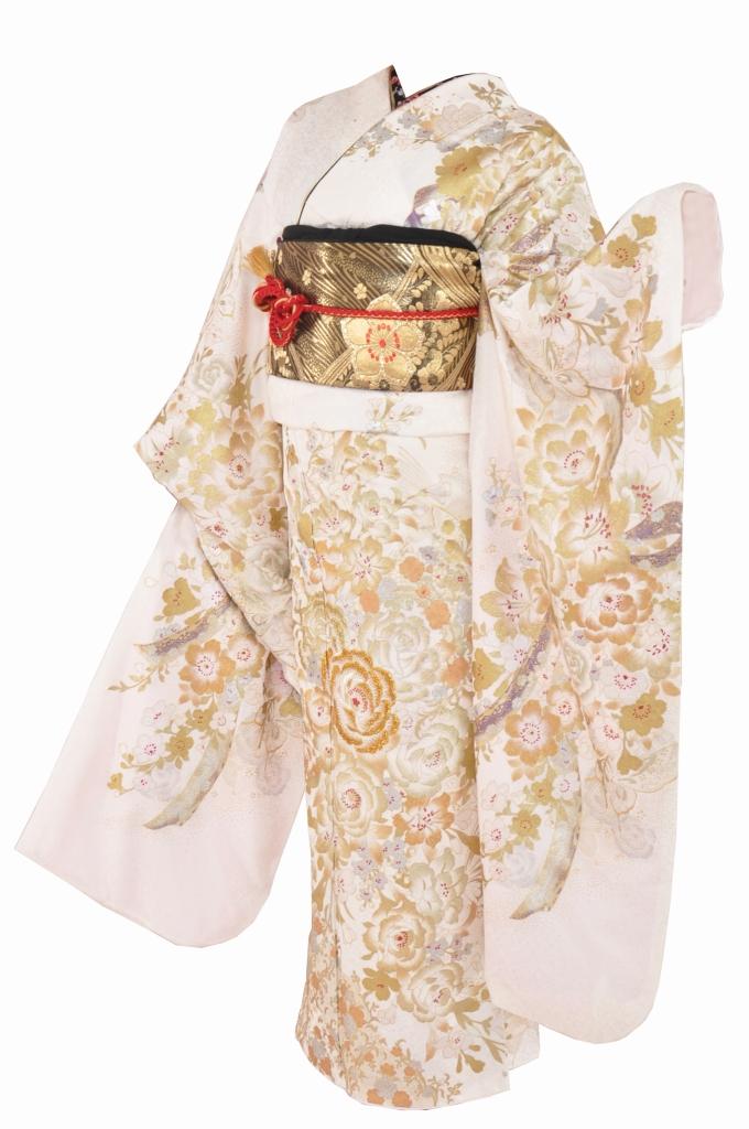 白地に金バラの桂由美振袖