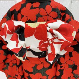 黒地に赤の桜柄の振袖。帯結びがよくわかる後ろ姿。