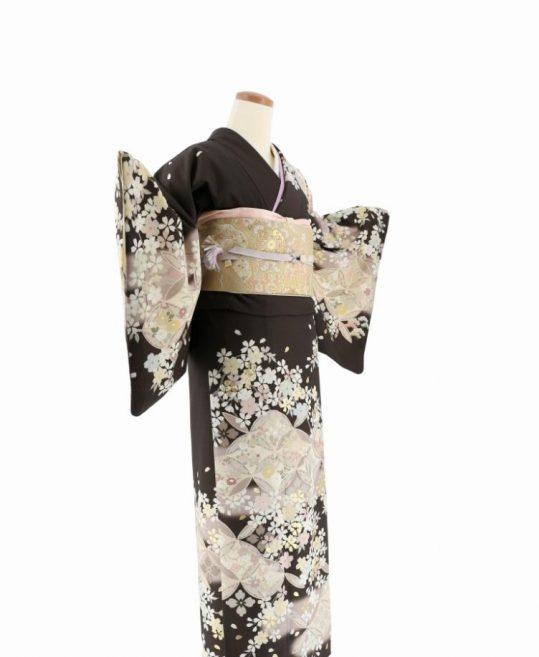 訪問着[JAPAN STYLE]こげ茶に七宝繋ぎと桜[165cmまで]No.614