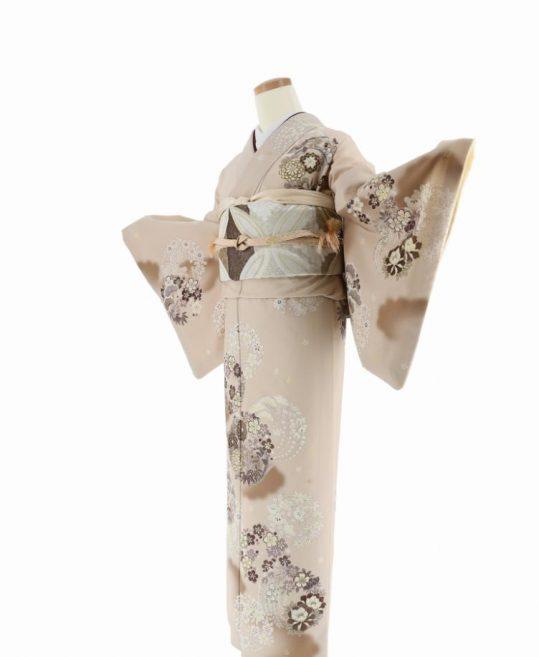訪問着[JAPAN STYLE]ベージュに花の丸[165cmまで]No.615