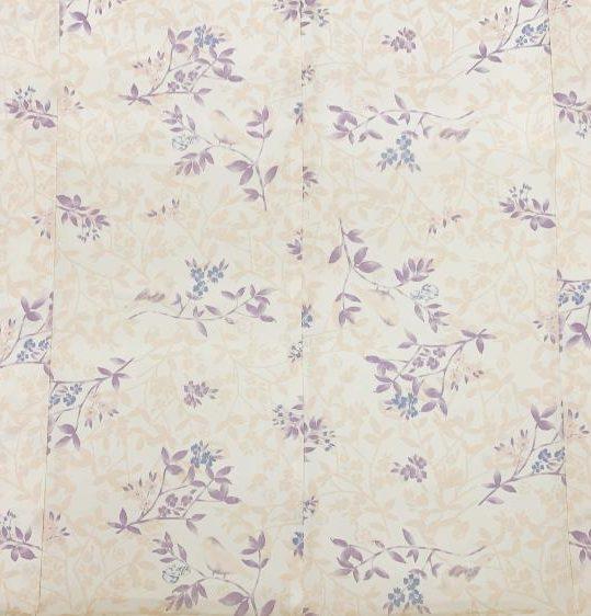 小紋[相田翔子ブランド]クリームにピンク、紫の花と小鳥[165cmまで]No.613