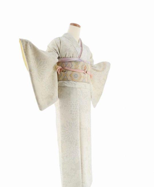 小紋[JAPAN STYLE]アイボリーの菊と梅[165cmまで]No.614