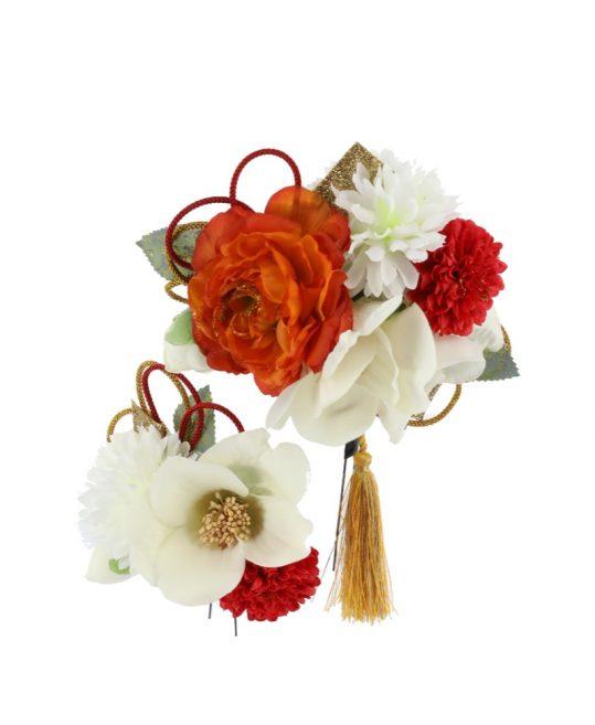 髪飾り | 白椿とオレンジの芍薬 成人式・卒業式用