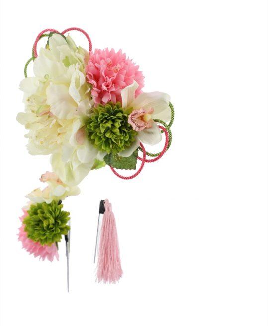 髪飾り   白いピオニーにピンクと黄緑のマム 成人式・卒業式用