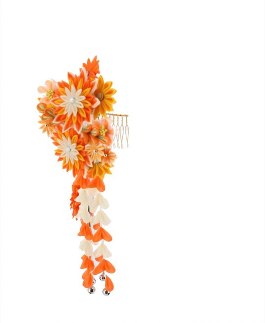 髪飾り | オレンジの花飾り 成人式・卒業式用
