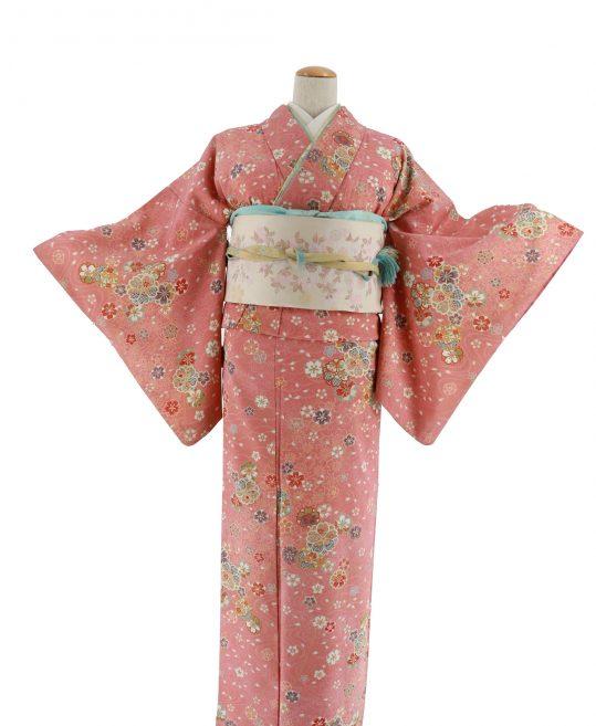 小紋|濃いピンクに桜[身長157cmまで]No.309