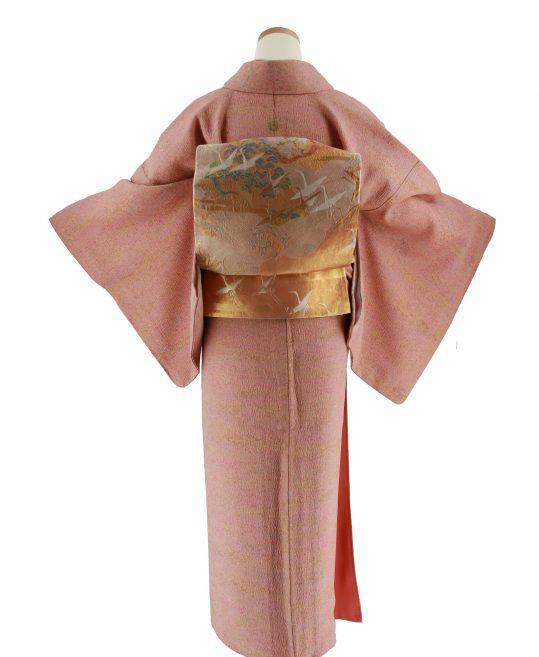 色無地【1紋】ピンクとオレンジのマーブル[身長162cmまで]No.494