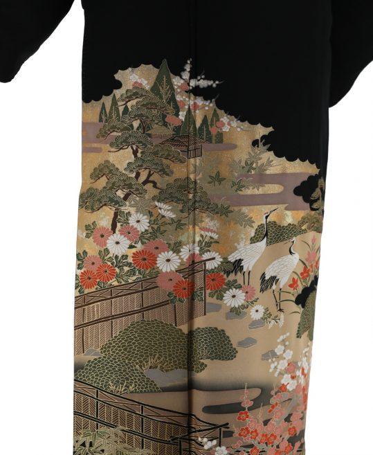 留袖No.614 | 鶴に梅、自然風景 [157cmまで]