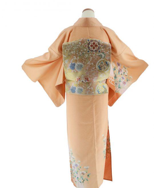 訪問着・付け下げNo.395【6・9月用、単衣】オレンジに花と流水[身長159cmまで]