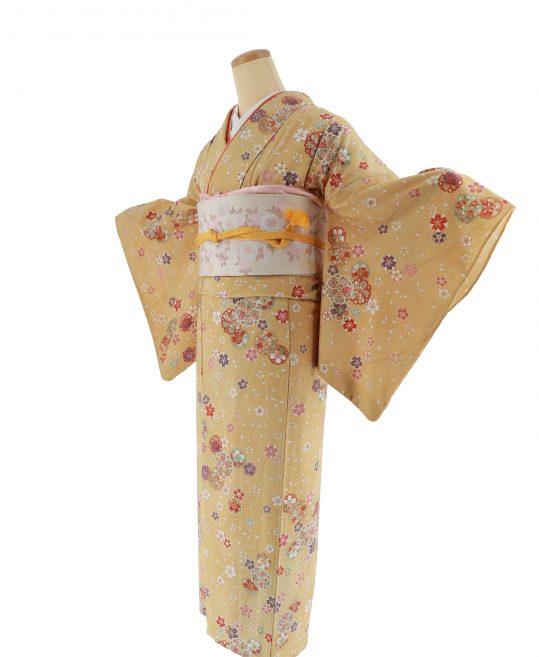 小紋【6・9月用、単衣】黄色・カラシに桜[身長159cmまで]No.308