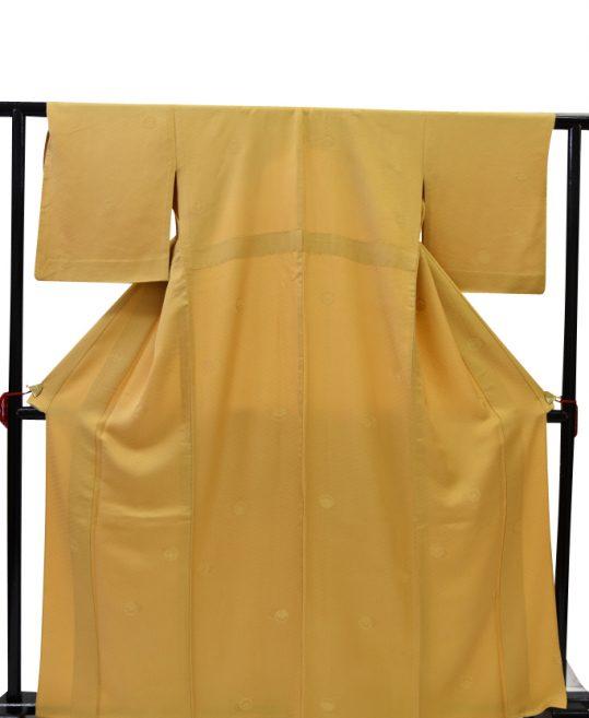 色無地【6・9月用、単衣】黄土色・山吹に斜めひし形[身長157cmまで]No.279