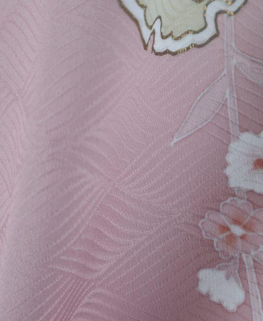 訪問着No.340 [Lサイズ]薄ピンクに花・雪輪柄[162cmまで]