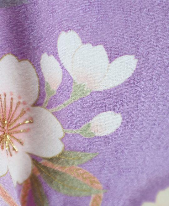 訪問着 No.600|紫に黄色黄緑グラデ桜柄[165cmまで]