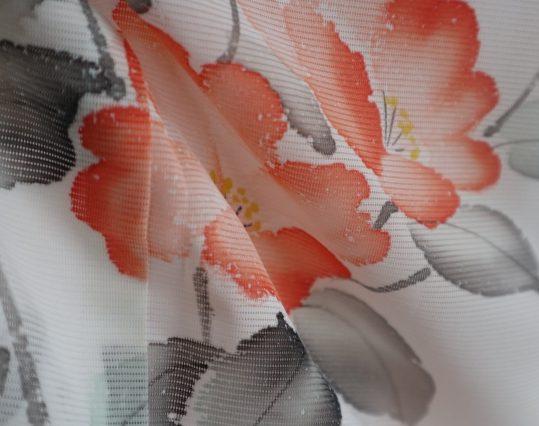 真夏用訪問着【7・8月用・絽】薄ピンクに椿[身長157cmまで]No.52