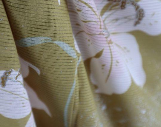 真夏用訪問着【7・8月用・絽】明るい黄土色に百合[身長159cmまで]No.69