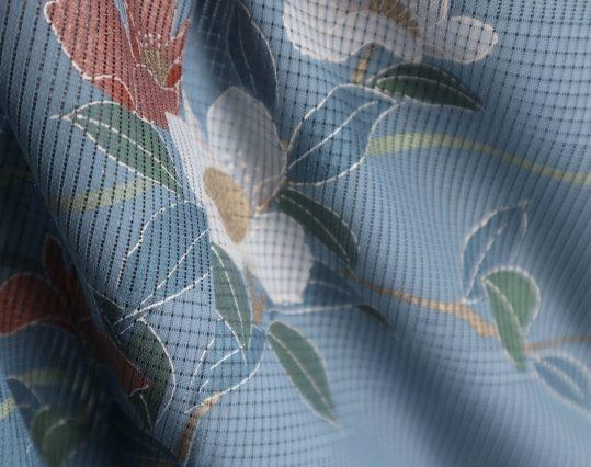 真夏用訪問着【7・8月用・絽】群青色に花々[身長159cmまで]No.71