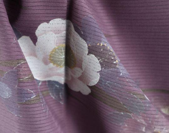真夏用訪問着【7・8月用・絽】濃い紫地に花々[身長159cmまで]No.74