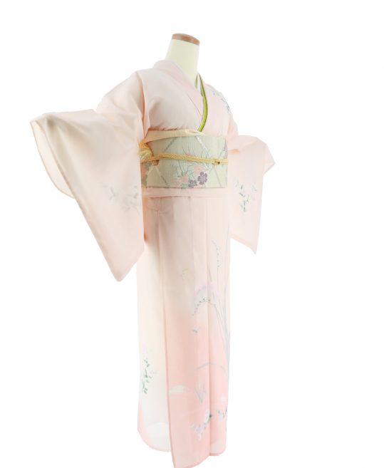 真夏用訪問着【7・8月用・絽】薄ピンクに花々[身長159cmまで]No.75