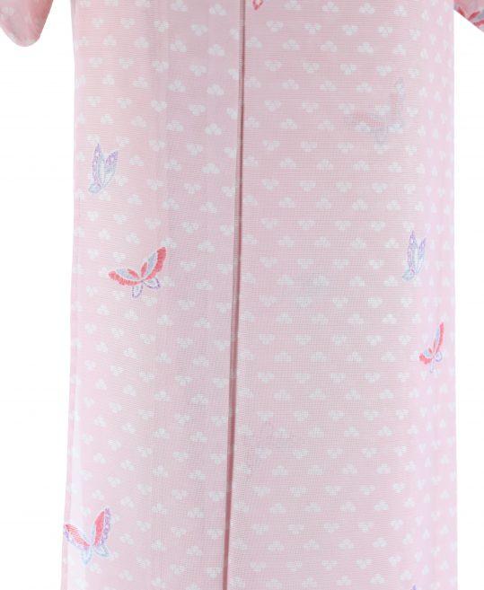 真夏用小紋【7・8月用・絽】ピンクに白・蝶・絞り風[身長157cmまで]No.60