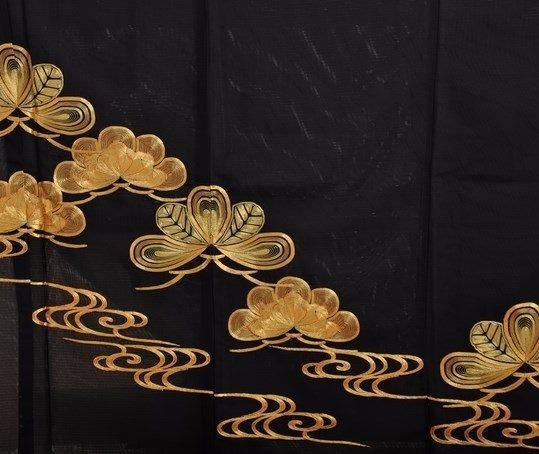 真夏用留袖【7・8月用・絽】松・観世水・金刺繍[身長159cmまで]No.80