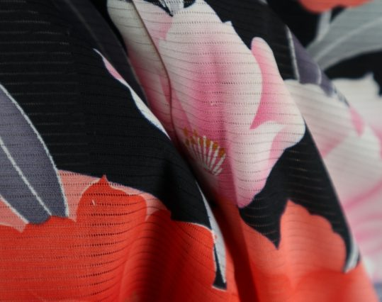 真夏用留袖【7・8月用・絽】赤黒花[身長155cmまで]No.87