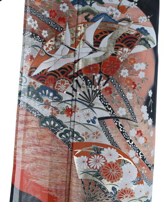 真夏用留袖【7・8月用・絽】扇・鶴・花々[身長159cmまで]No.88