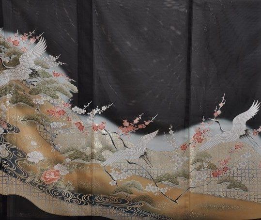 真夏用留袖【7・8月用・絽】鶴・松・梅[身長159cmまで]No.89
