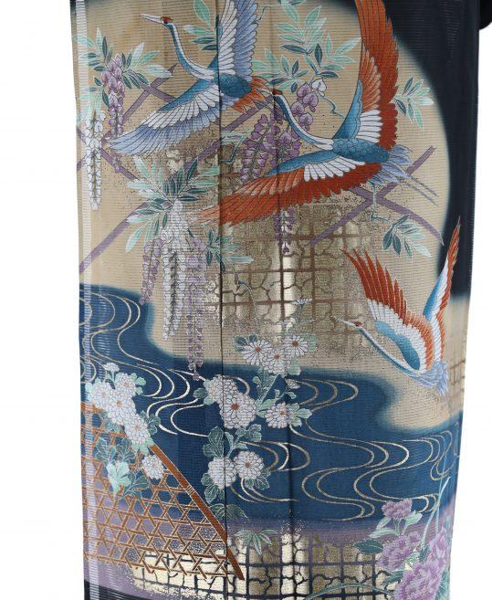 真夏用留袖【7・8月用・絽】鶴・藤・観世水[身長157cmまで]No.90