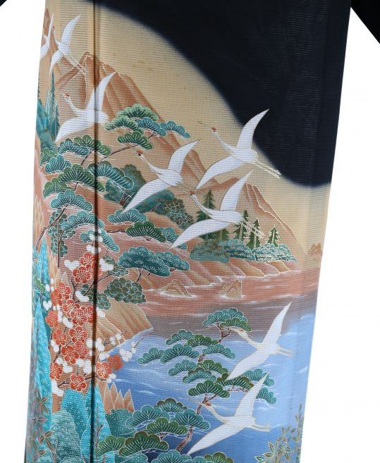 真夏用留袖【7・8月用・絽】鶴・自然風景[身長159cmまで]No.91