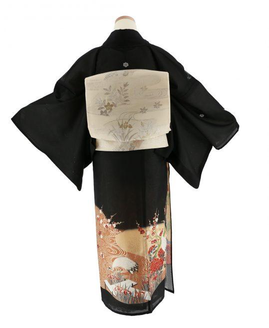 真夏用留袖【7・8月用・絽】鶴・桜・牡丹[身長162cmまで]No.92