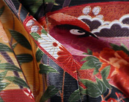 真夏用留袖【7・8月用・絽】扇・尾長鳥・花々[身長157cmまで]No.93