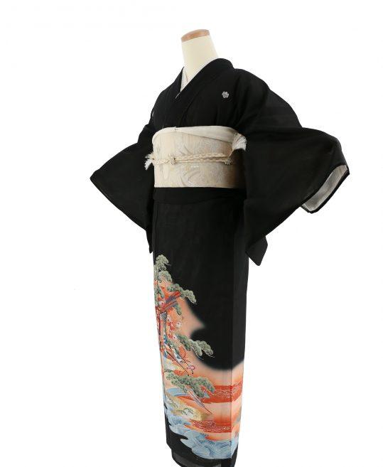 真夏用留袖【7・8月用・絽】松・御所車・扇子[身長157cmまで]No.21