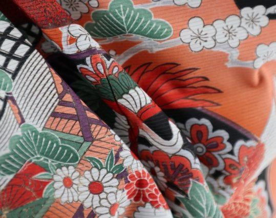 真夏用留袖【7・8月用・絽】扇・牡丹・鶴[身長155cmまで]No.33