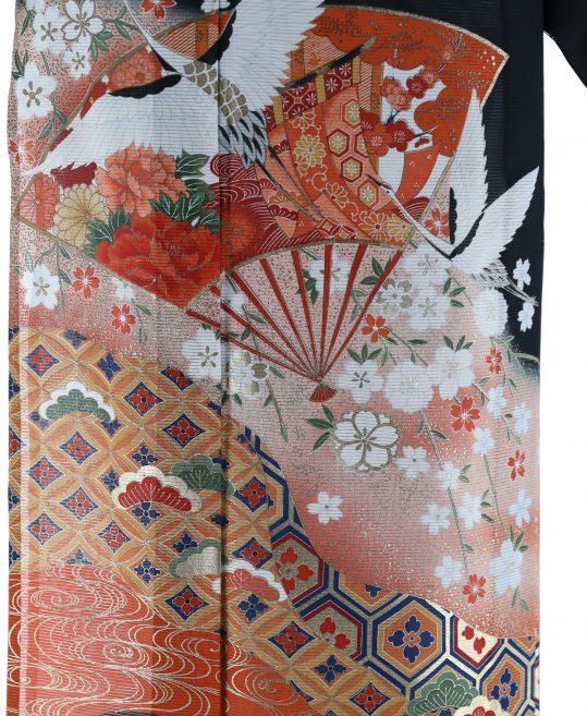 真夏用留袖【7・8月用・絽】鶴・扇・枝垂桜[身長155cmまで]No.41