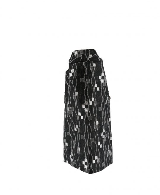 ジュニア・小学生用袴単品No.10|黒 銀の四角・立涌 対応身長 /155〜160cm