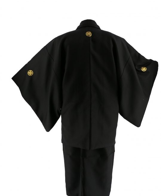 ジュニア・小学生用紋付単品No.13|黒 市松光沢 対応身長 /155〜165cm