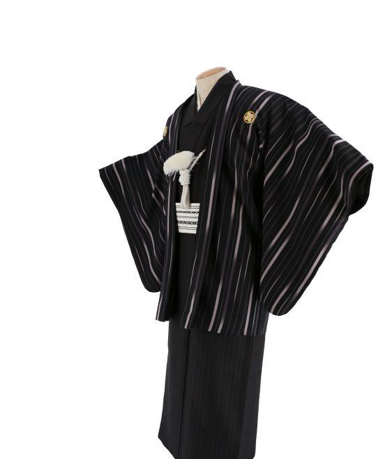 ジュニア・小学生用紋付単品No.16|黒 紫ストライプ対応身長 /155〜160cm