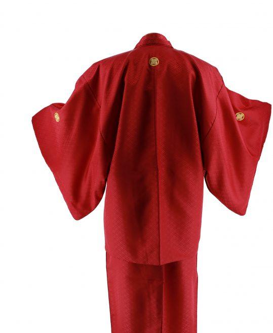 ジュニア・小学生用紋付単品No.6|赤 花菱 対応身長 /155〜165cm