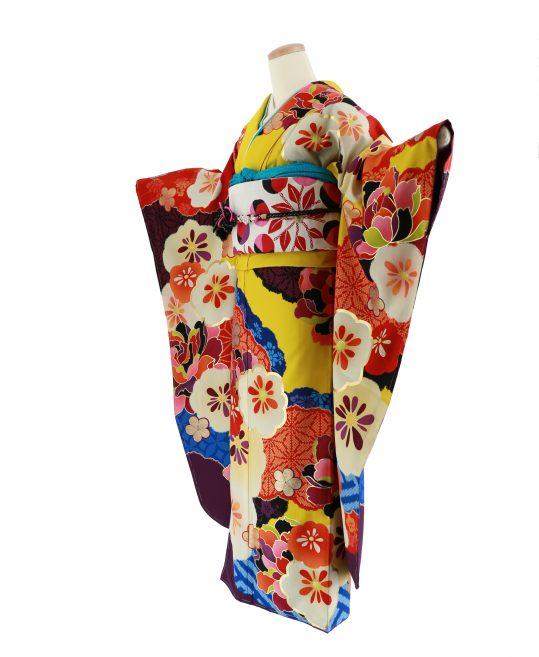 振袖[emma×紅一点]カラシ・花柄絞り風レトロモダン[157cmまで]