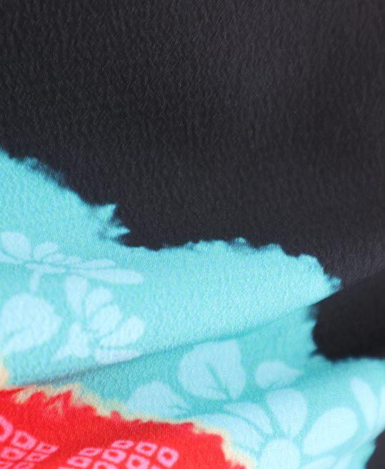 振袖[emma×紅一点]黒・花柄絞り風レトロモダン[157cmまで]