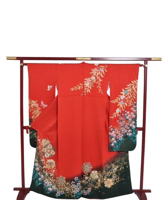 参列振袖[個性派レトロ]朱赤に金箔の枝垂桜と華文[身長157cmまで]No.429