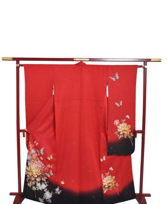 参列振袖[ロマンチックレトロ]赤に牡丹とバラ[身長157cmまで]No.430