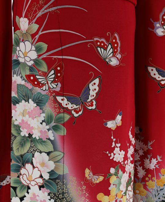 振袖  [ロマンチックレトロ]赤・蝶紫陽花牡丹椿[153cmまで]