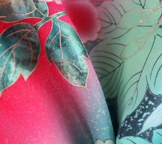 参列振袖[個性派レトロ]赤に牡丹と葡萄[身長157cmまで]No.449