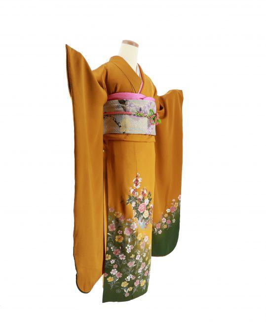 参列振袖[シンプル古典]カラシ色に撫子と花籠[身長157cmまで]No.466