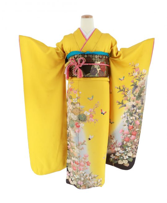 振袖[レトロガーリー]黄色・花蝶[155cmまで]