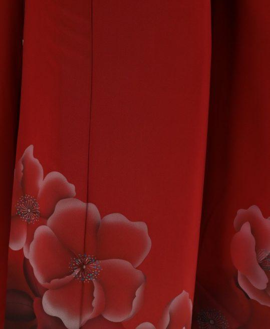 参列振袖 [個性派レトロ][シンプル古典]赤に花柄[身長153cmまで]No.517