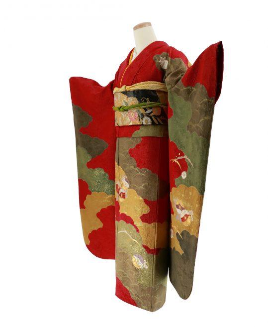 参列振袖 [個性派レトロ][シンプル古典]赤に黄色と緑の雲[身長152cmまで]No.542