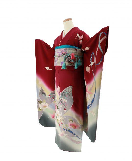 成人式振袖[レトロ古典]赤紫に蝶[身長159cmまで]No.546